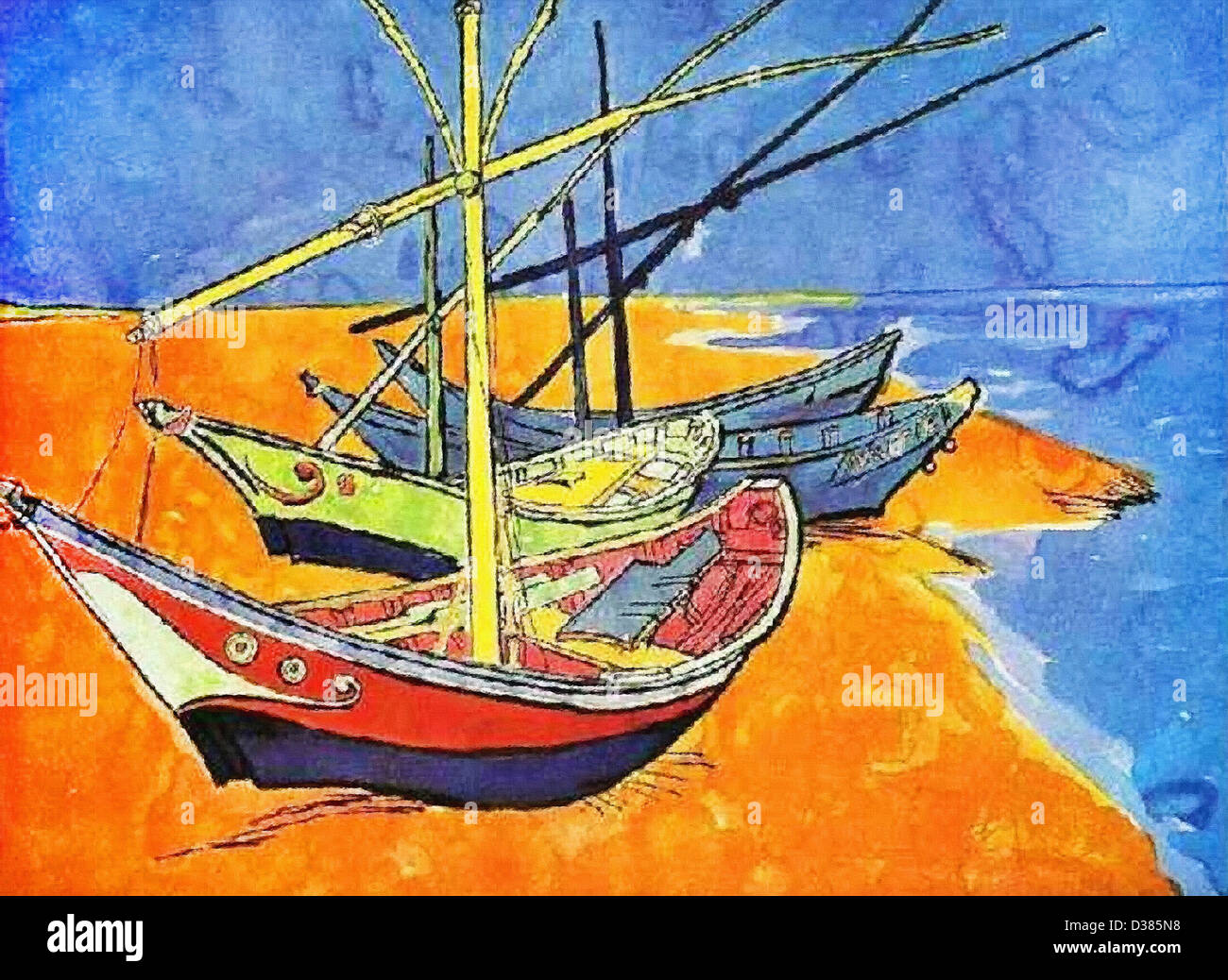 Vincent van Gogh, Fishing Boats on the Beach at Saintes-Maries-de-la-Mer. 1888. Japonism. Oil on canvas. Hermitage - Stock Image