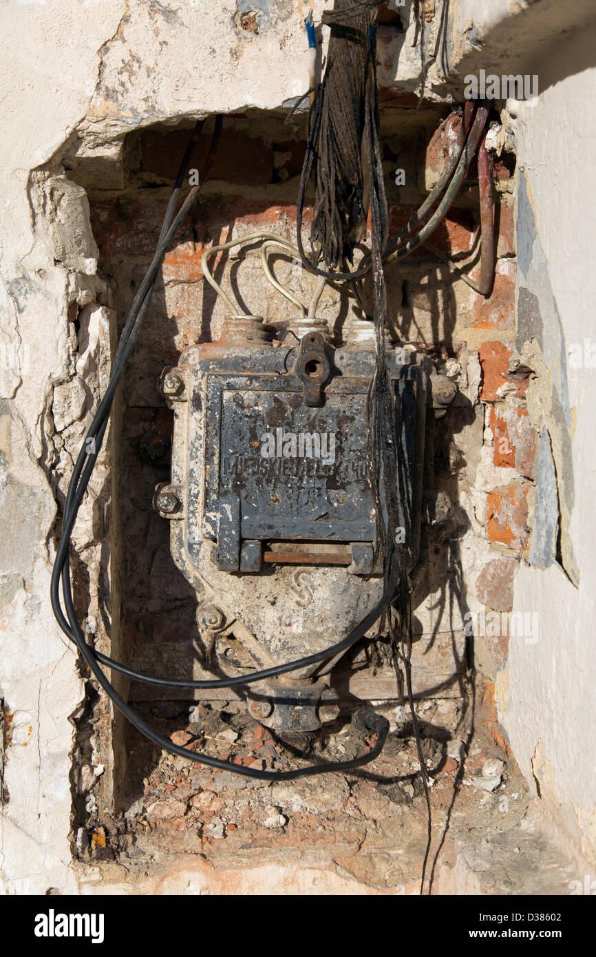 Lviv, Ukraine, Power Distribution Box with pre-war redrawn cables - Stock Image