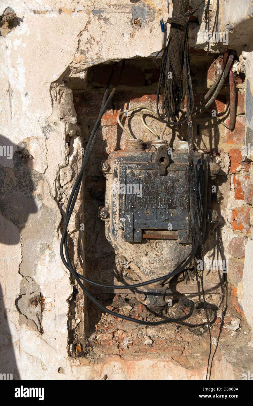 External Electrical Wiring Stock Photos Home Distribution Box Lviv Ukraine Power With Pre War Redrawn Cables Image