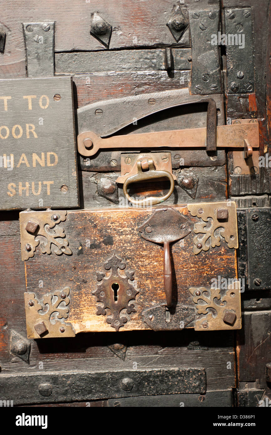 Ancient middle ages door lock - Stock Image