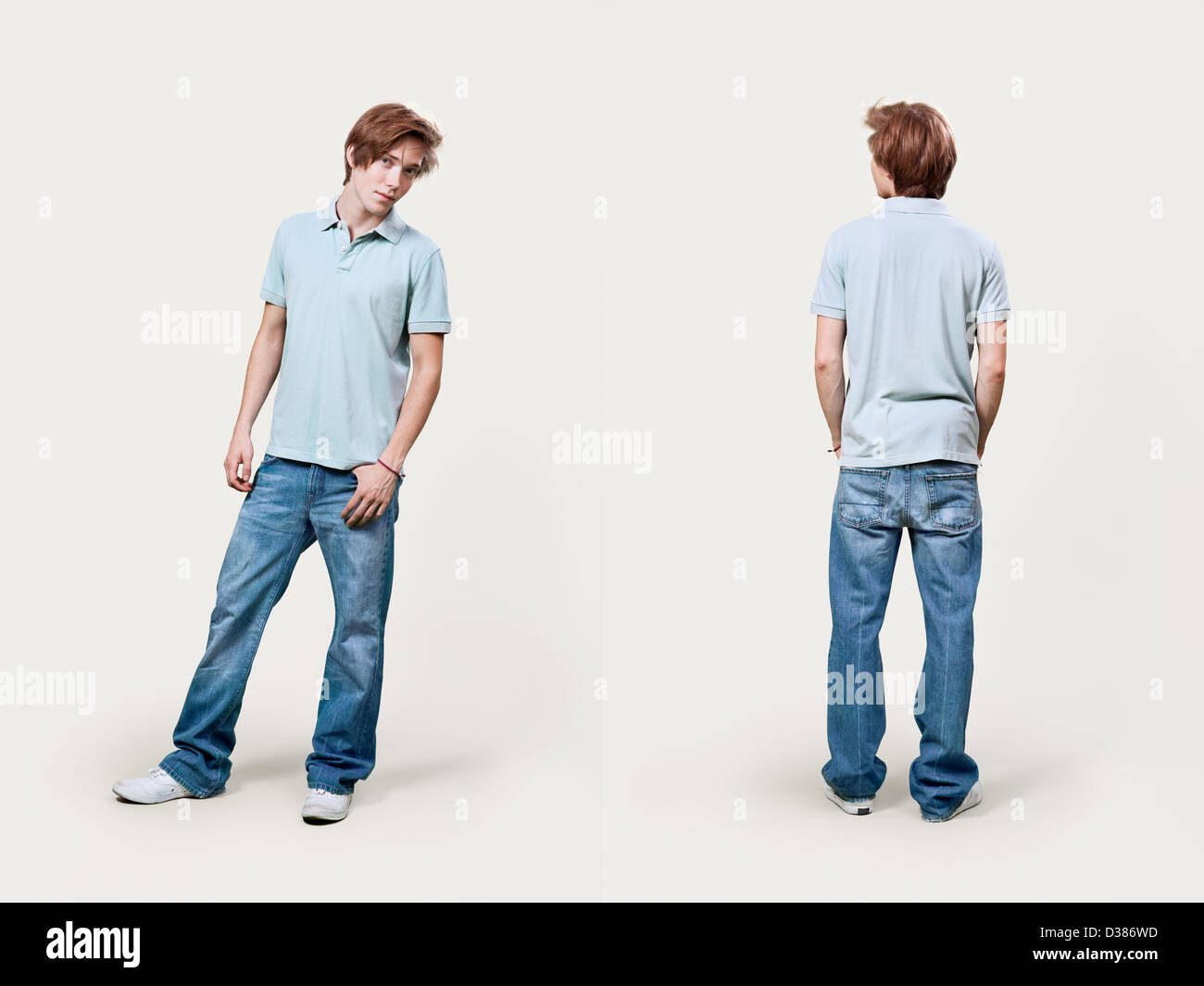 Front and rear view of casual young male's fashion in catalog style. - Stock Image