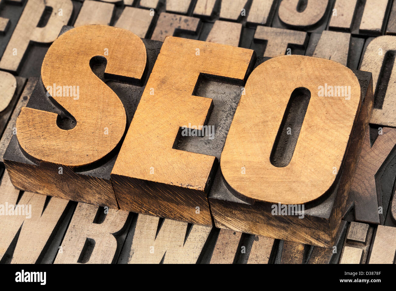 SEO (search engine optimization) acronym - text in vintage letterpress wood type - Stock Image