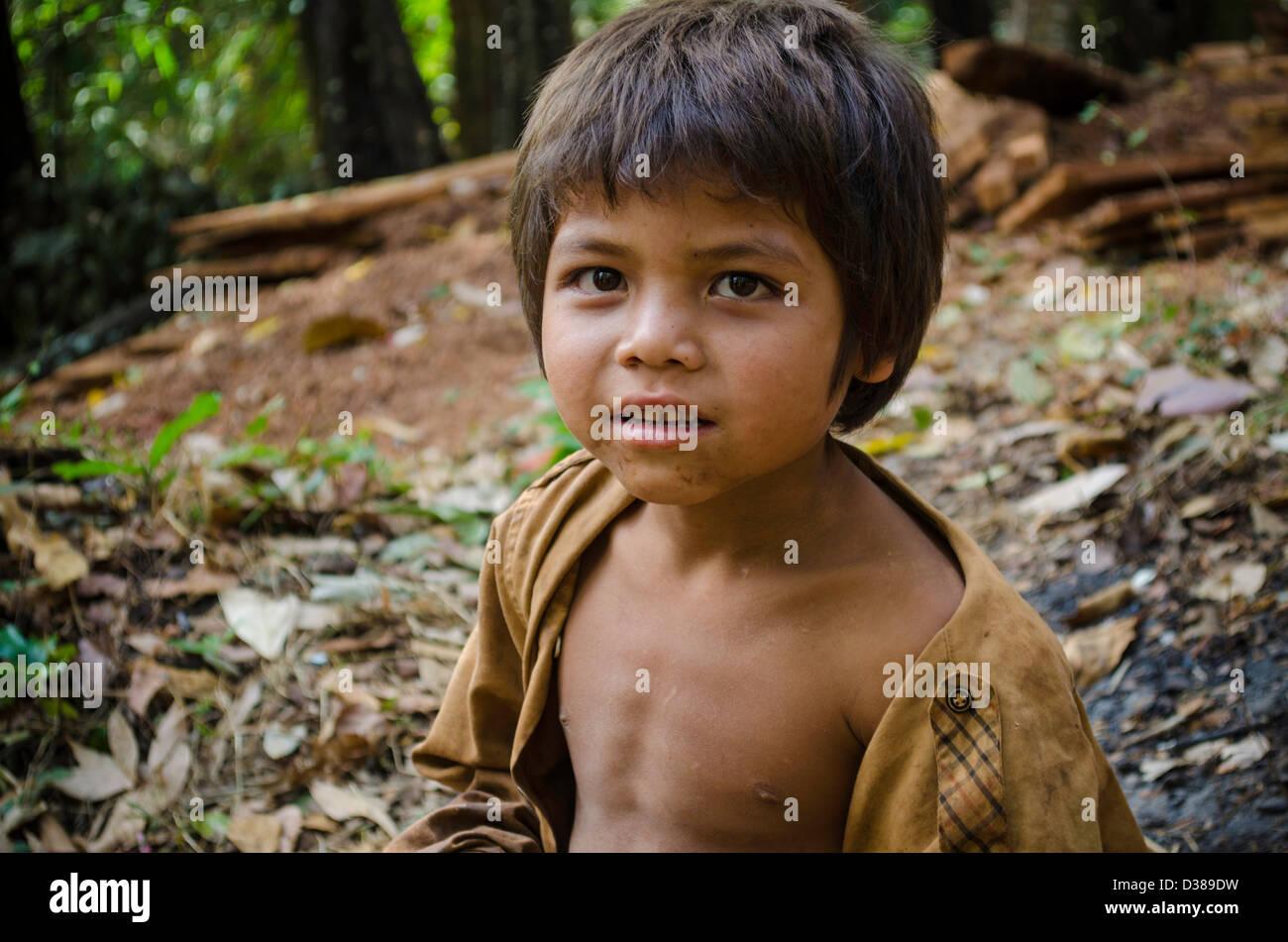 Portrait of a little boy in Kompong Phluk floating village