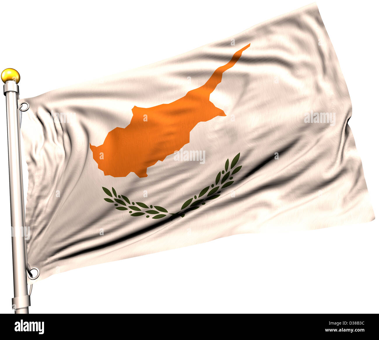 Cyprus flag on a flag pole. Clipping path included. Silk texture visible on the flag at 100%. - Stock Image