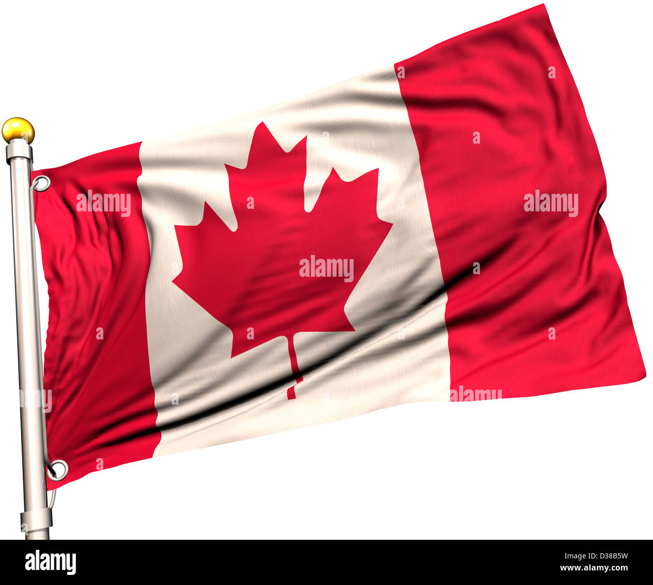 Canada flag on a flag pole. Clipping path included. Silk texture visible on the flag at 100%. Stock Photo