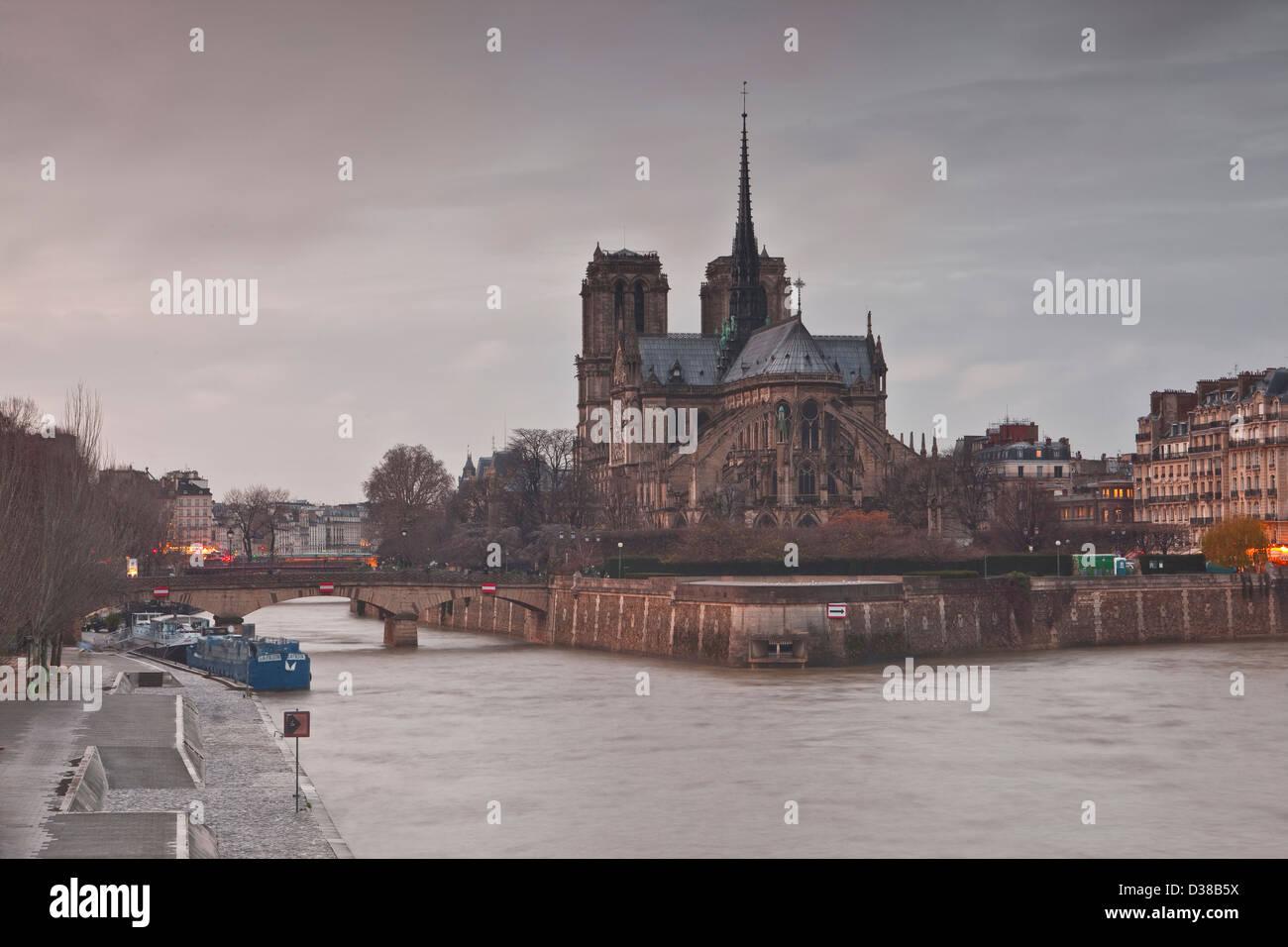 Notre Dame de Paris cathedral and the river Seine. - Stock Image