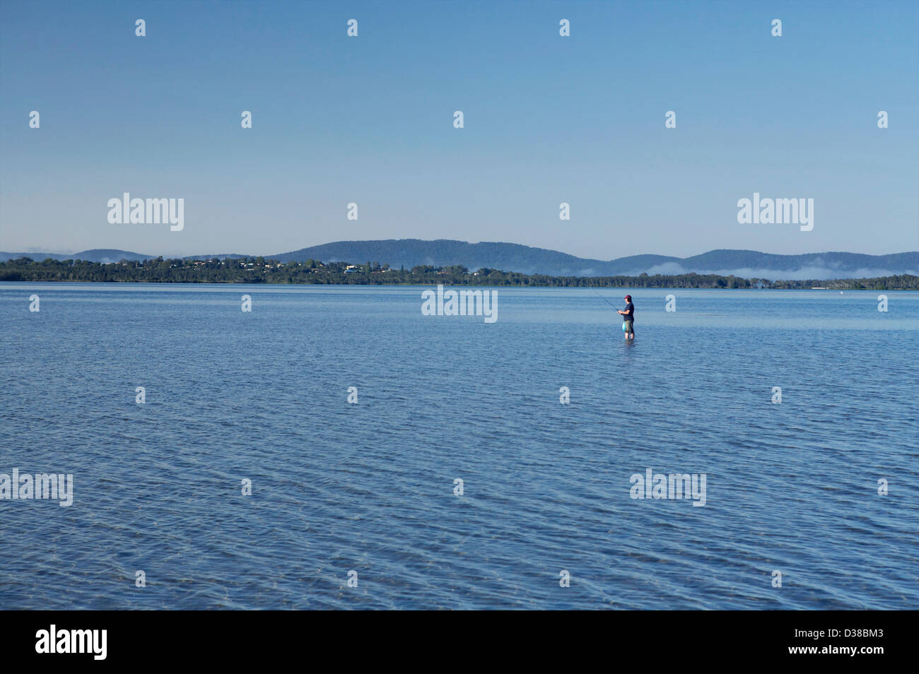 Lone Fisherman in water - Stock Image