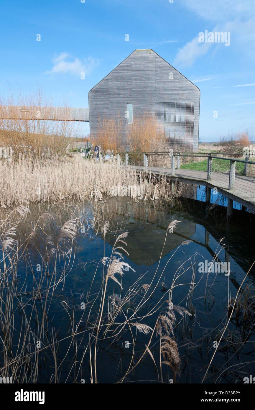 The visitor centre at Welney Wildfowl wetlands Trust Centre Norfolk UK - Stock Image