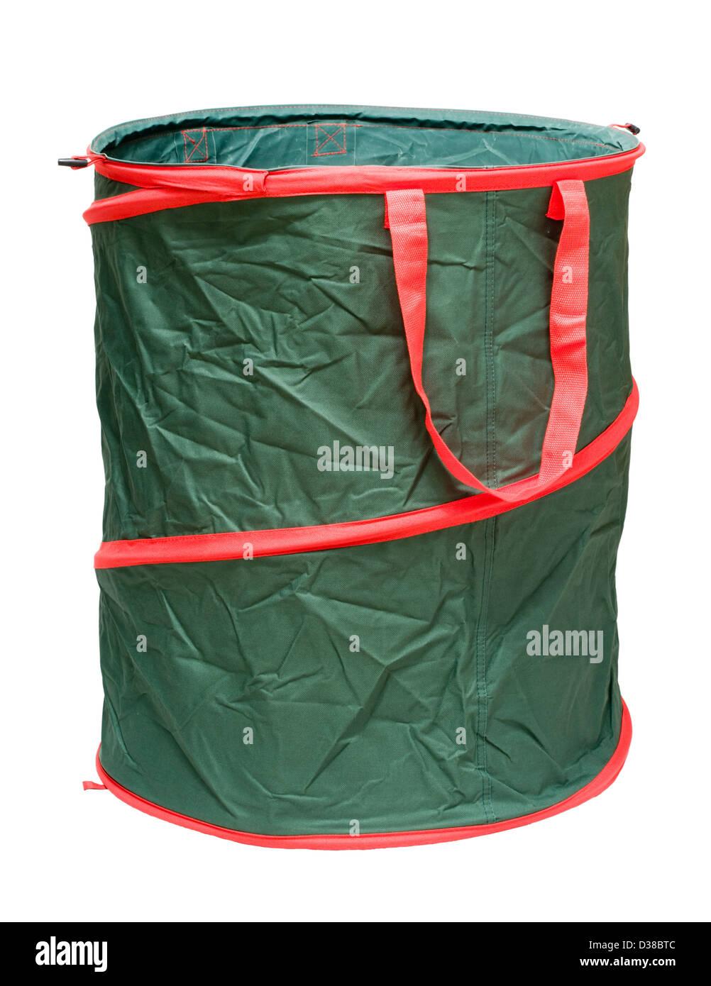 Collapsible garden tidy bin. - Stock Image