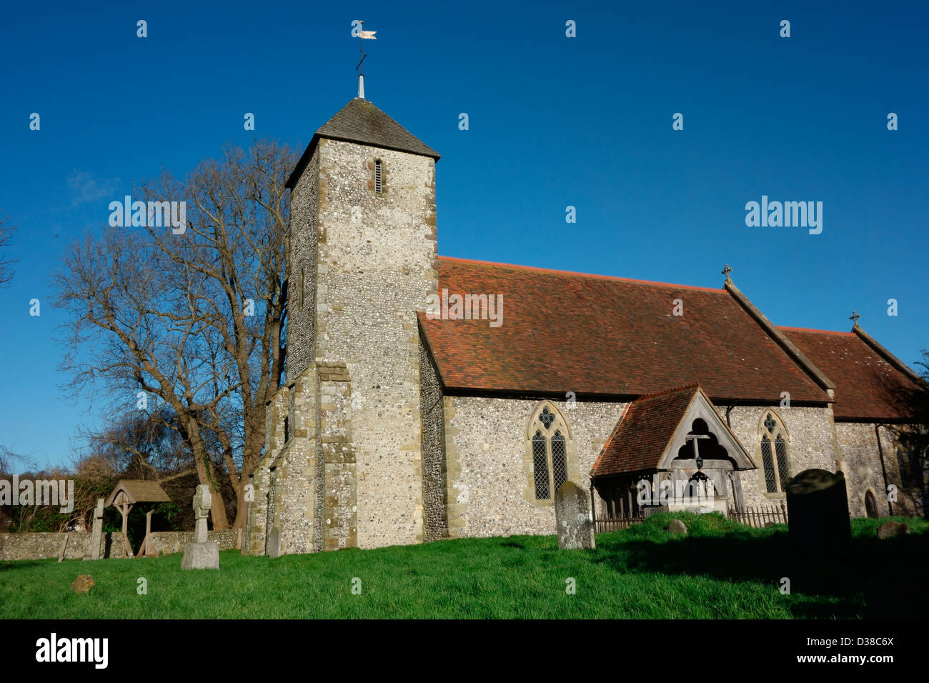 St Pancras 13 century church in Kingston Sussex - Stock Image
