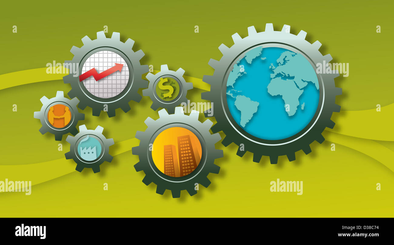 Conceptual image of business mechanism - Stock Image