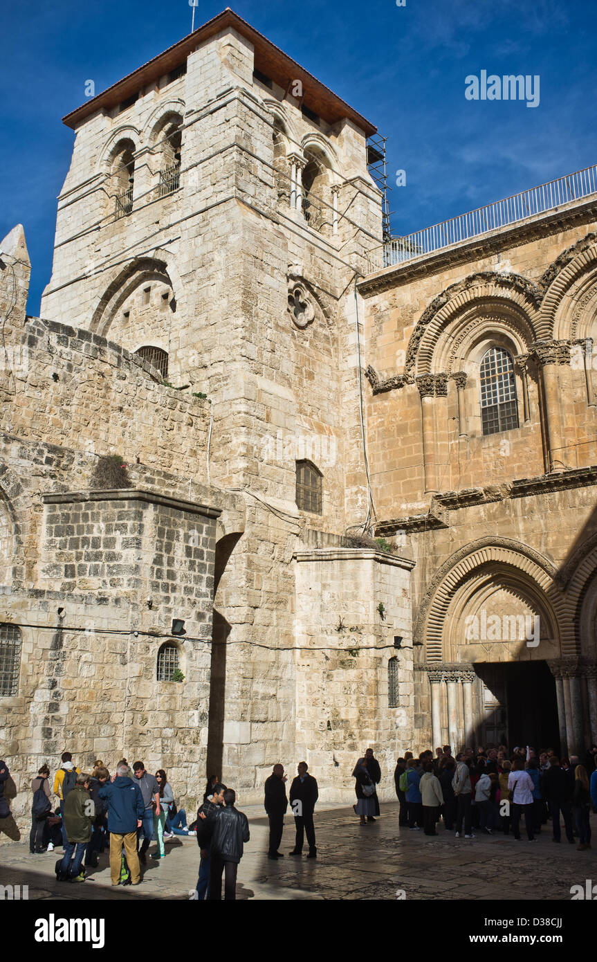 Jerusalem, Israel. 13th February 2013. Entrance and exterior of the Church of The Holy Sepulchre. Jerusalem, Israel. Stock Photo