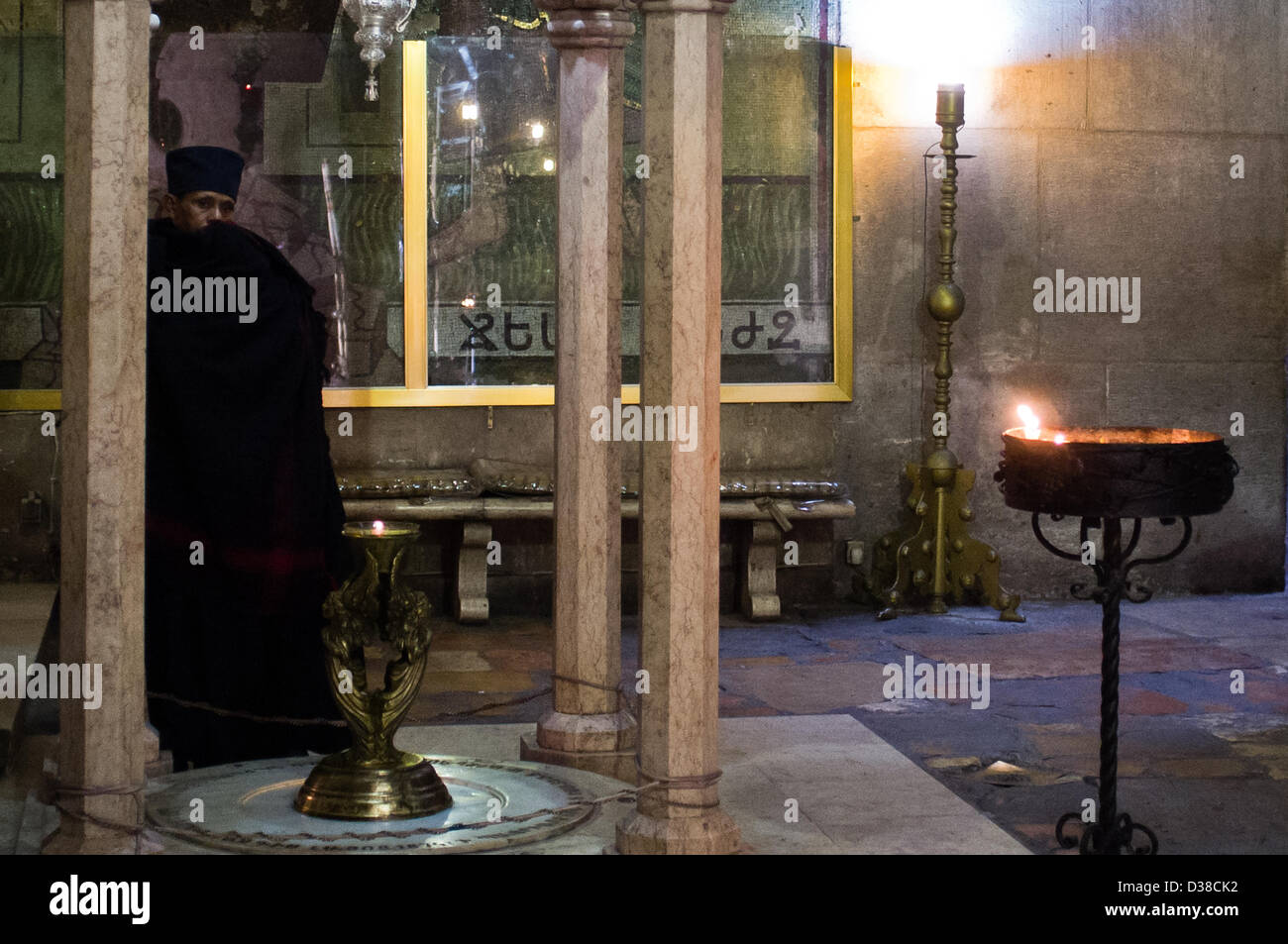 Jerusalem, Israel. 13th February 2013. An Ethiopian priest at the Church of The Holy Sepulchre. Jerusalem, Israel. Stock Photo