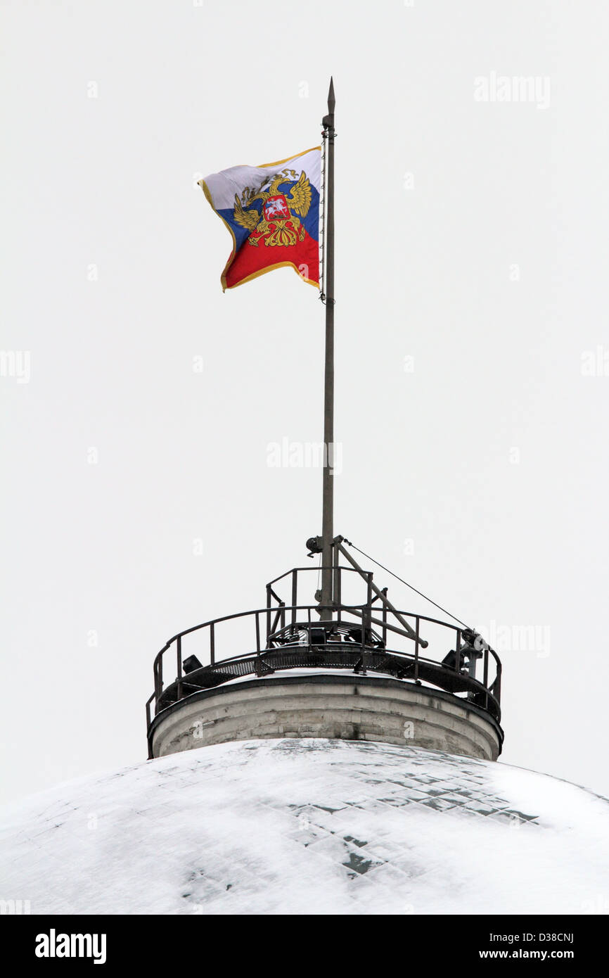 Russian Federation Flag Over Dome Of The Senate Building. Kremlin, Red Square, Moscow, Russia. - Stock Image