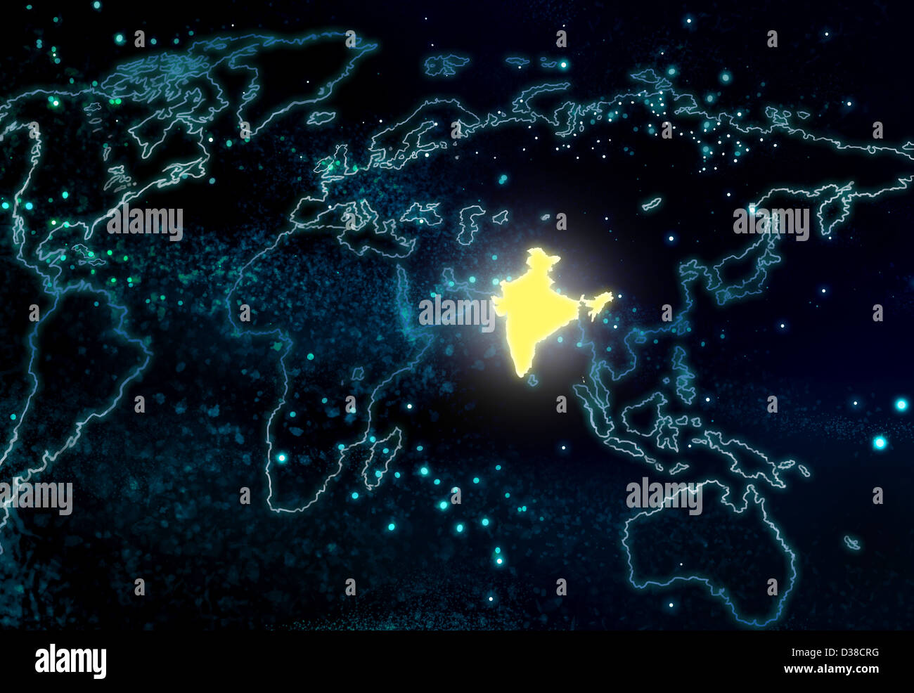 Illustrative image of world map with India highlighted Stock Photo