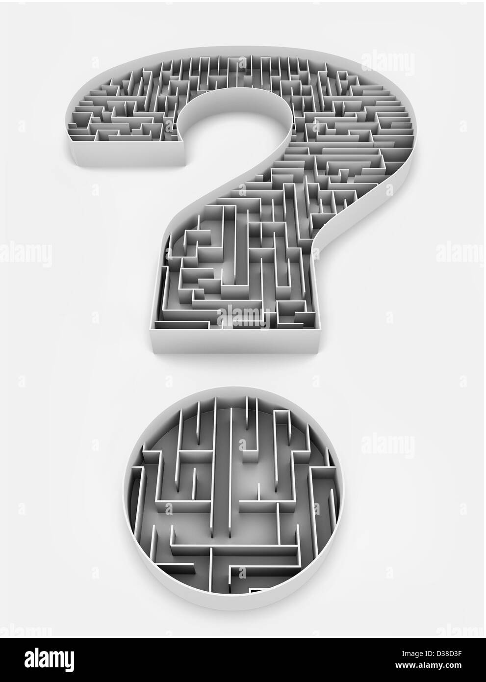Illustrative image of question mark with maze representing confusion over white background - Stock Image