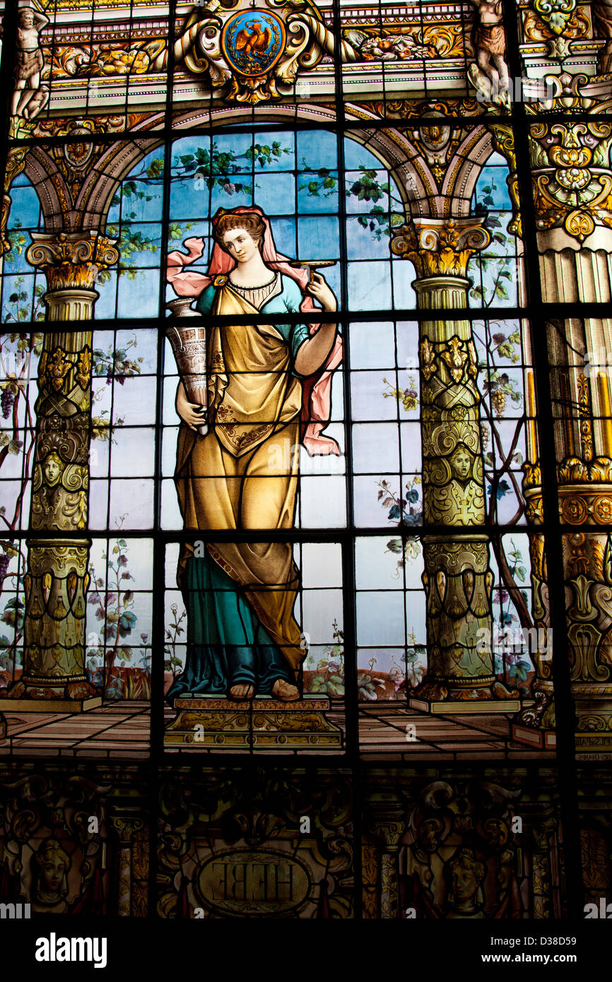 Stained Glass Gallery at Chapultepec Castle in Mexico City DF - Bathroom - Stock Image