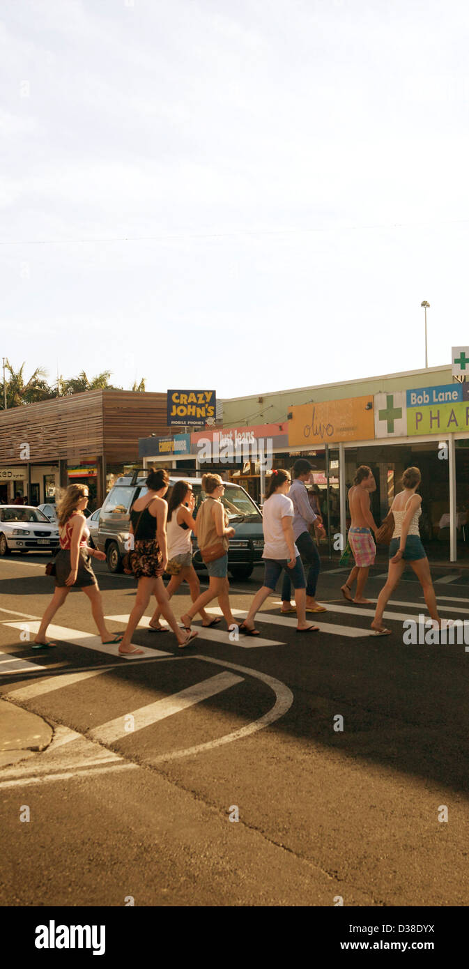 Byron Bay main street, New South Wales Australia. A haven for young backpackers, travellers and surfers - Stock Image