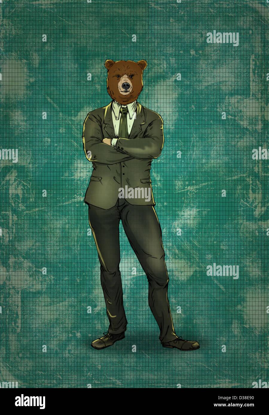 Illustrative image of bearish business man - Stock Image