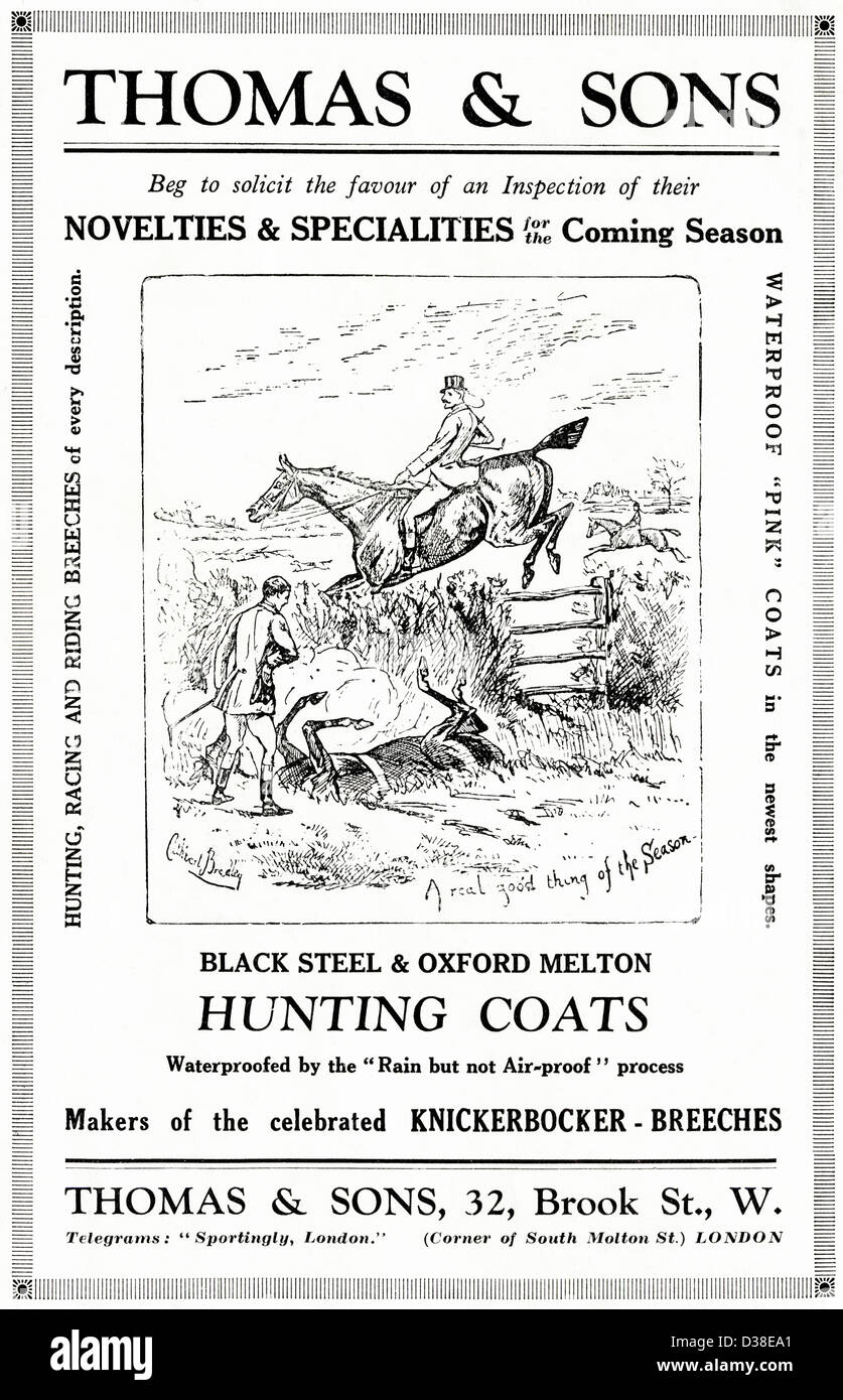 Original 1920s vintage print advertisement from English country gentleman's newspaper advertising hunting clothing Stock Photo