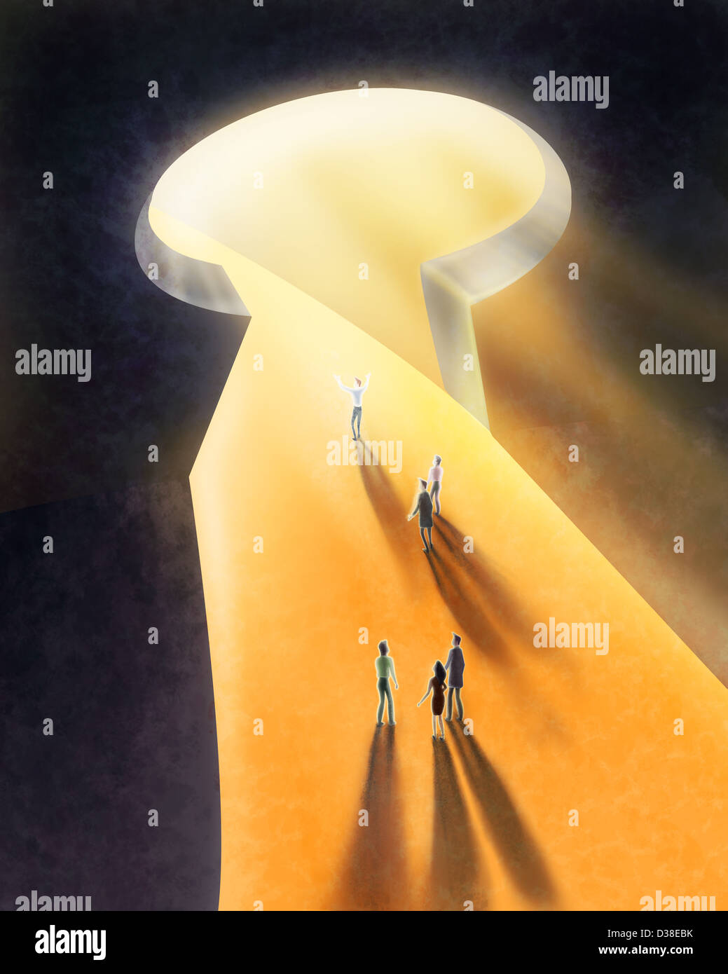Illustrative image of light coming out from keyhole and people walking representing rays of hope - Stock Image