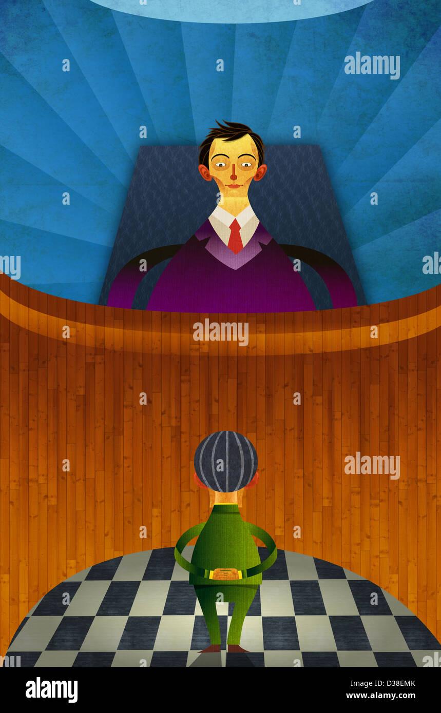 Illustrative image of judge looking at man representing accusation - Stock Image