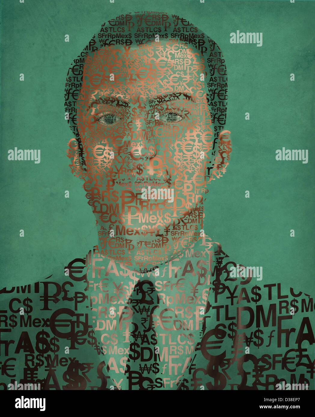 Illustration image of businessman made of currency symbols - Stock Image