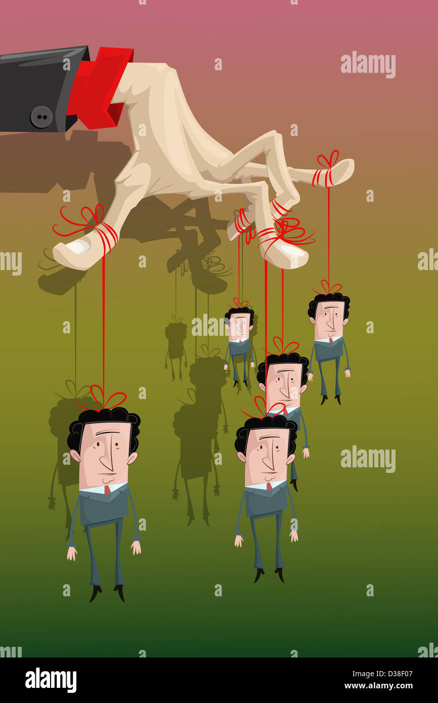 Illustrative image of businessman controlling his subordinates representing bondage - Stock Image