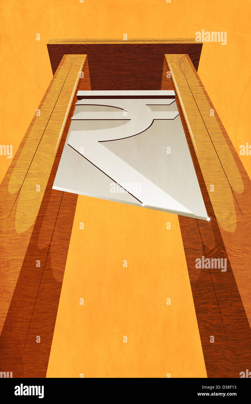 Illustrative image of Indian currency sign between columns indicating rising debt - Stock Image