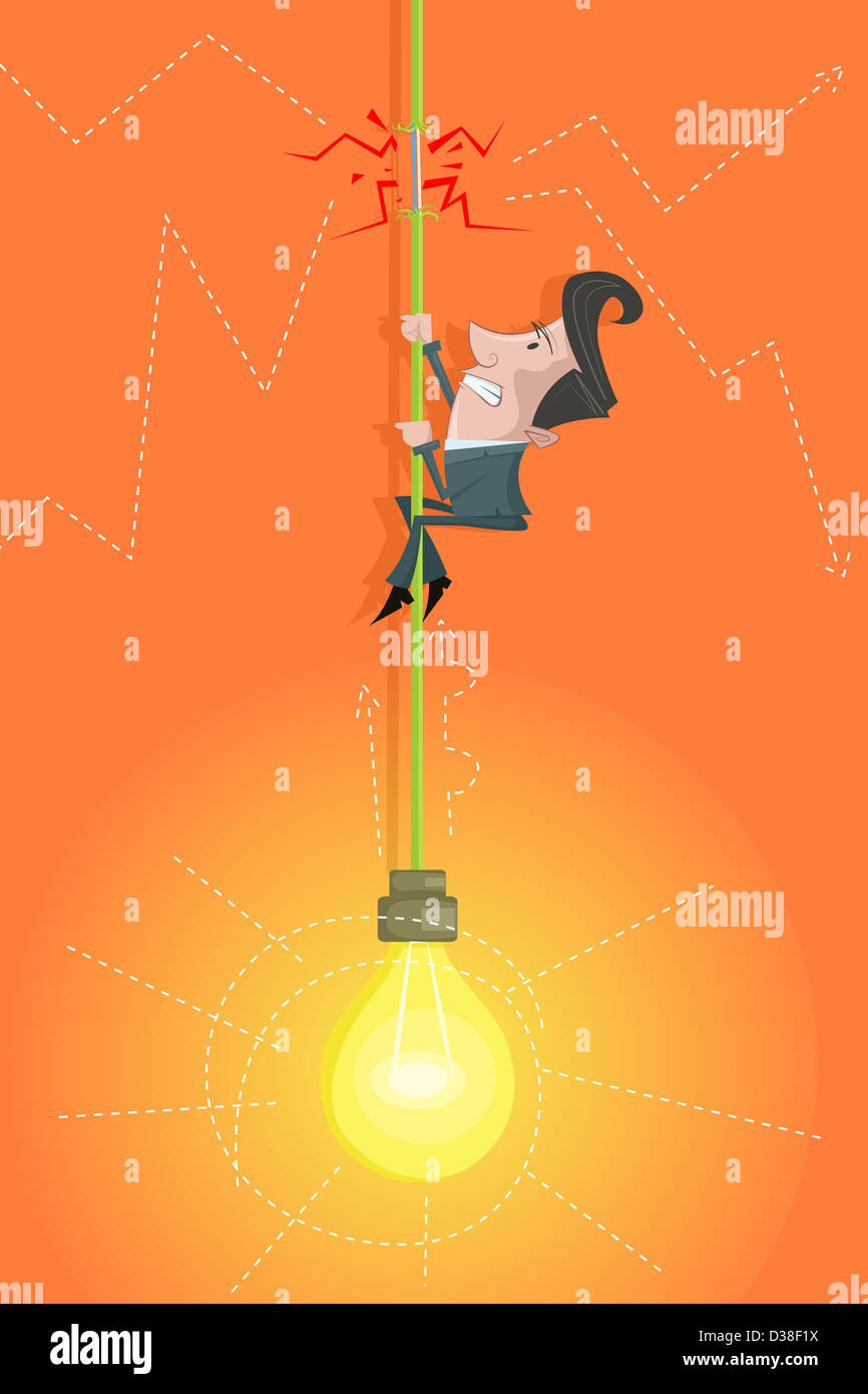 Illustrative image of capitalist climbing cord of light bulb representing risk in investment - Stock Image
