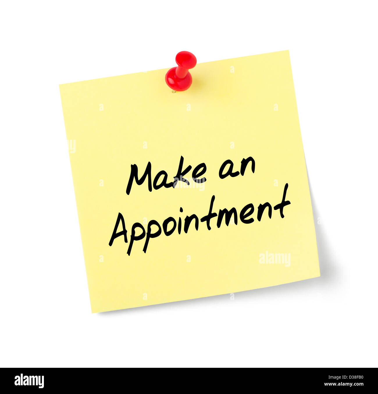 Yellow paper note with text Make an Appointment - Stock Image