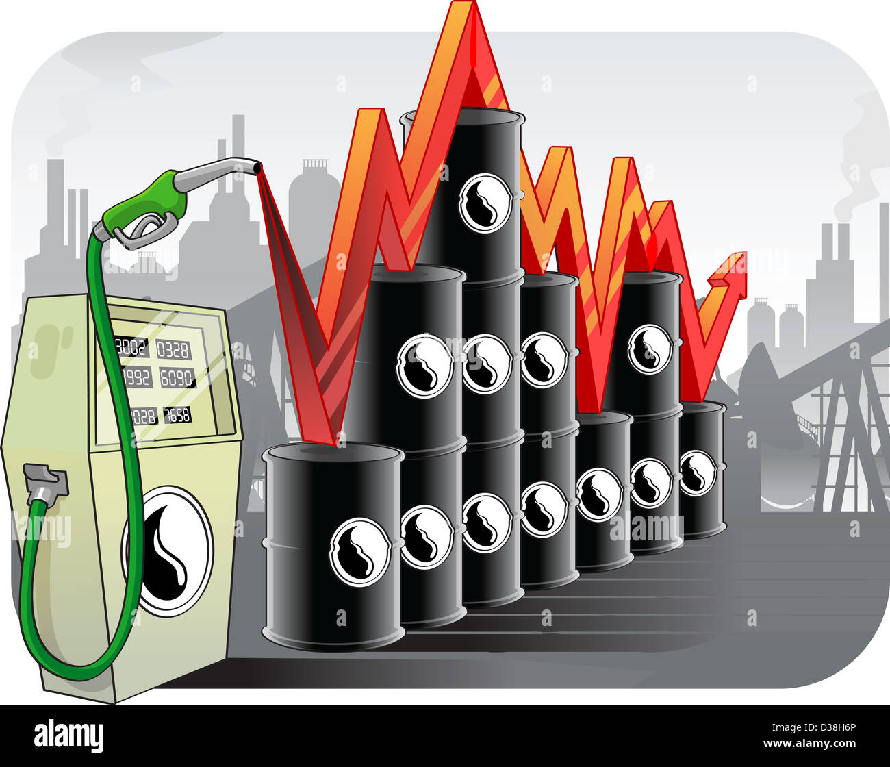 Illustration representing fluctuation in oil prices - Stock Image