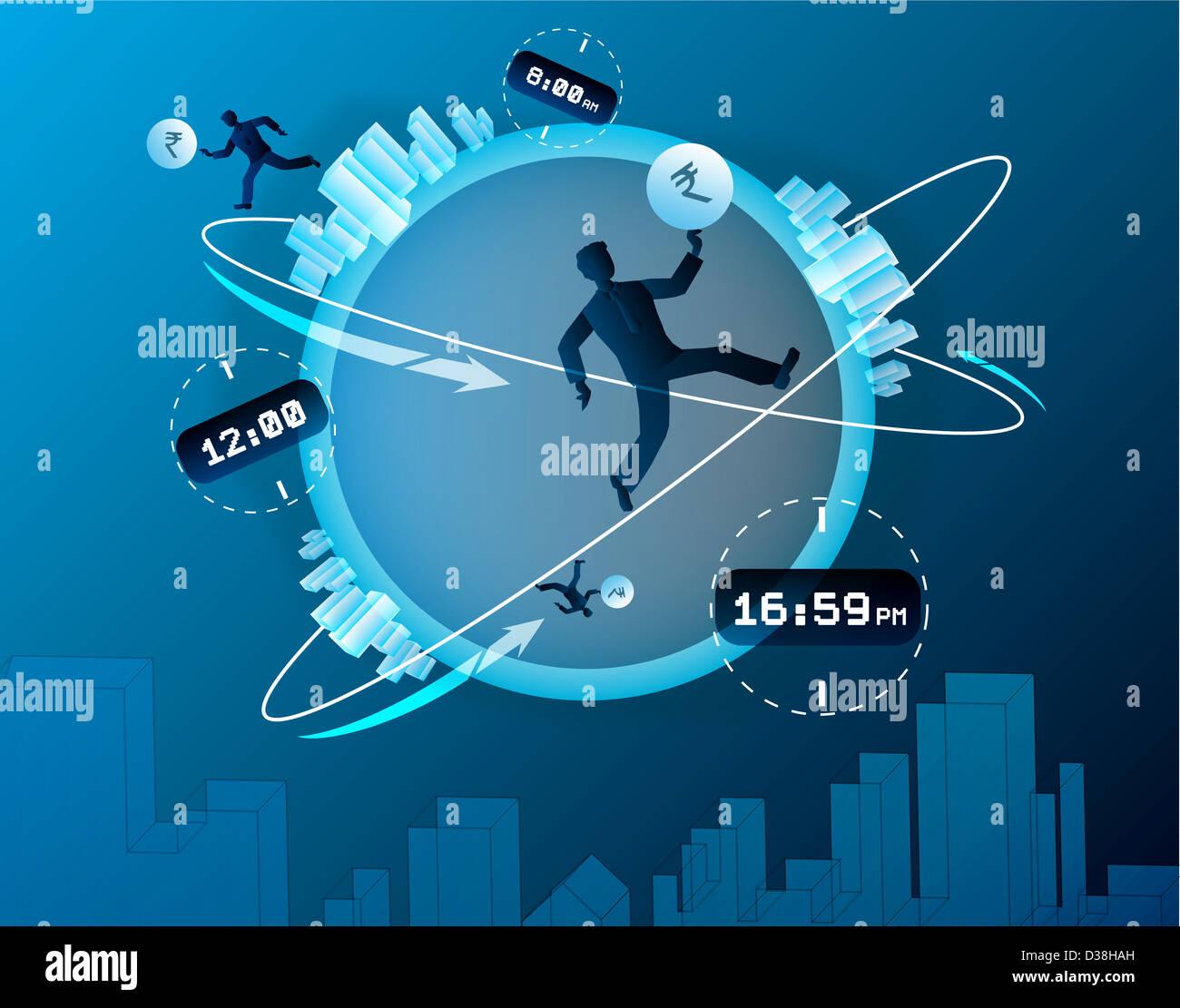 Illustration representing human race for development - Stock Image