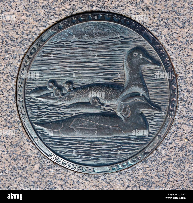 'The Food Chain', Eider Duck (Somateria mollissima mollissima). Outdoor sculpture. The Stone Jetty, Morecambe, - Stock Image