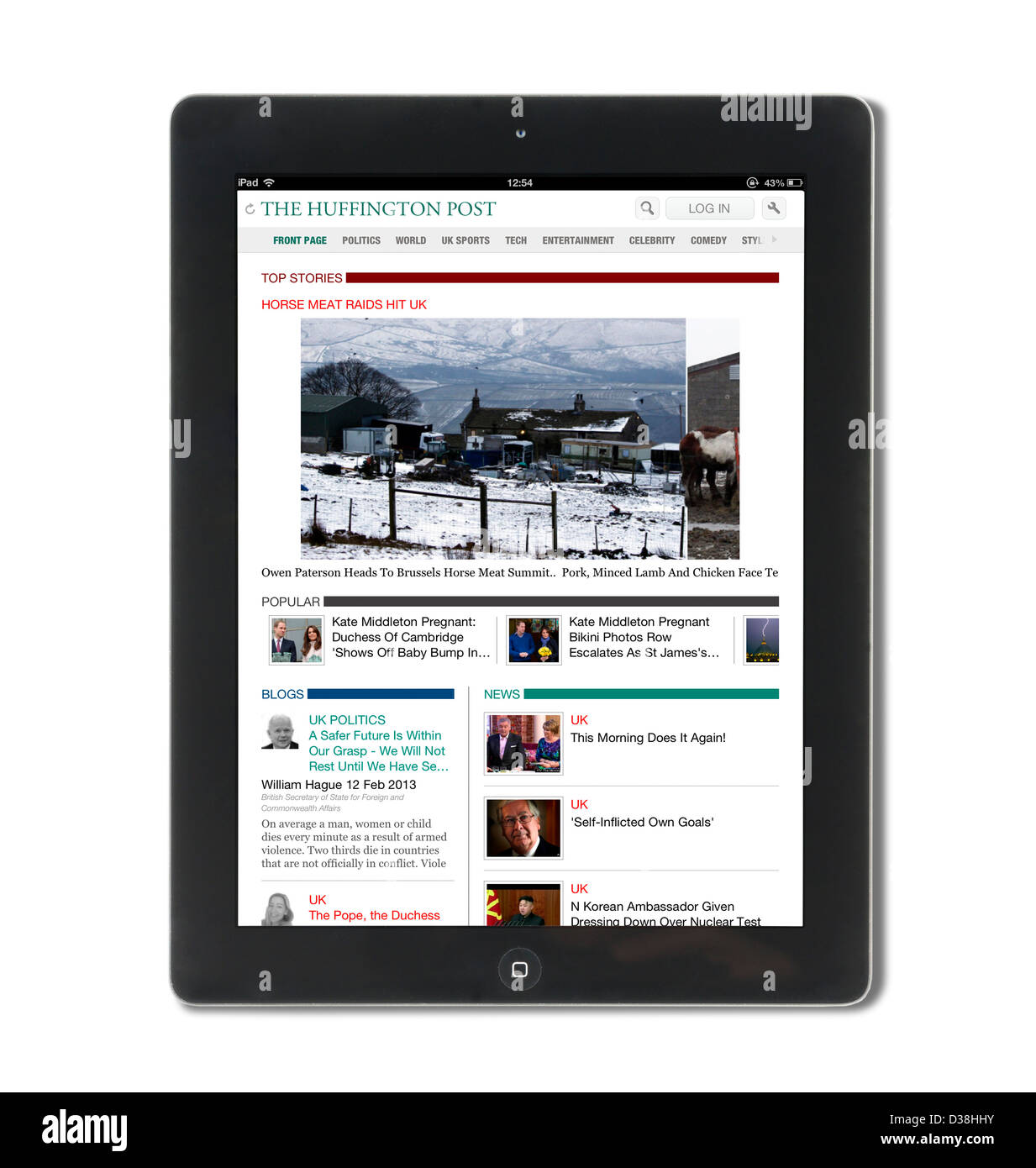 iPad App showing the UK edition of the Huffington Post viewed on a 4th generation Apple iPad, UK - Stock Image