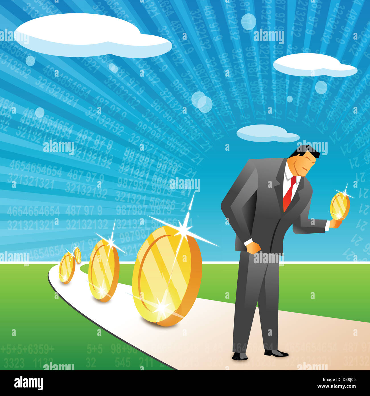 Businessman holding a coin Stock Photo