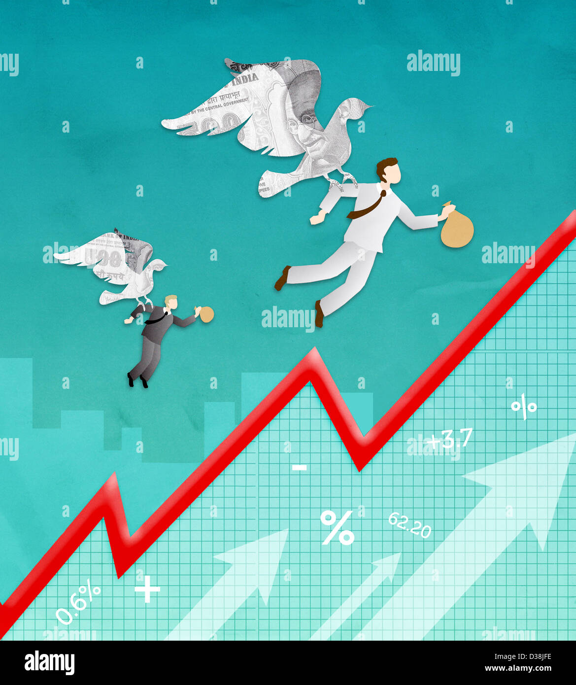 Illustrative representation showing recovery from recession - Stock Image