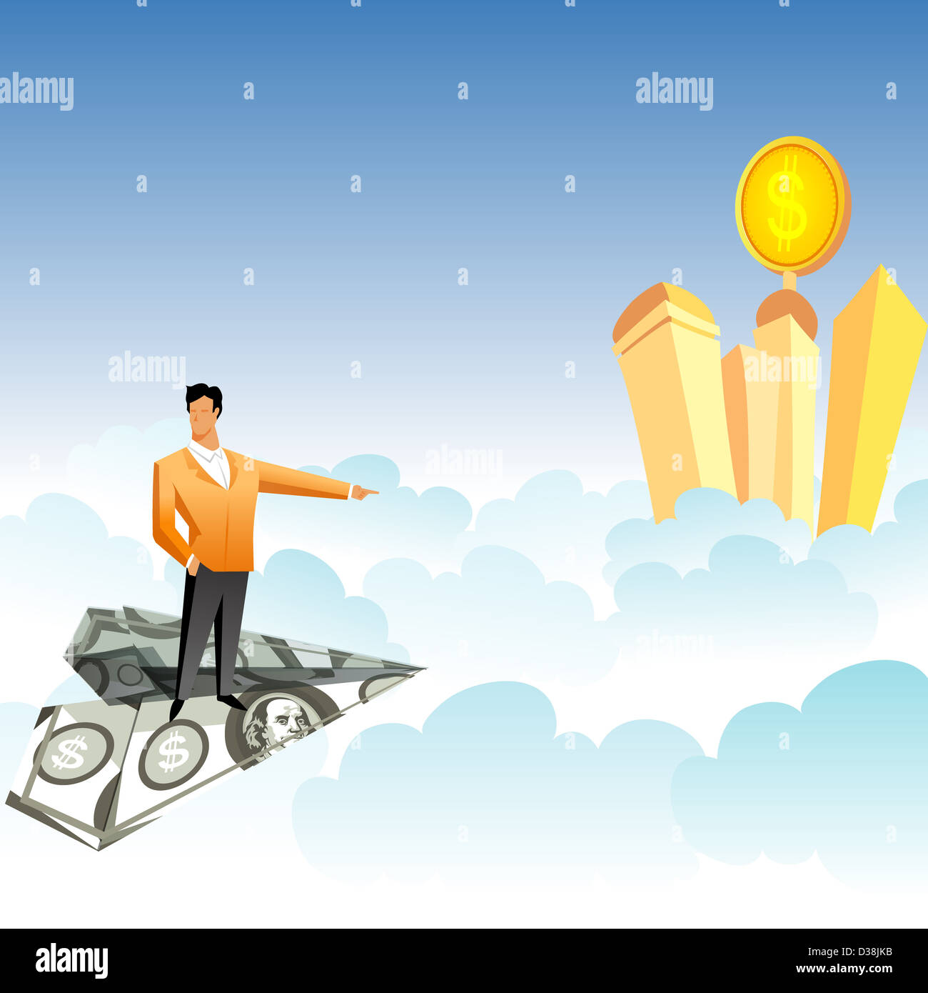 Businessman traveling on a paper airplane and pointing towards skyscrapers over the clouds Stock Photo