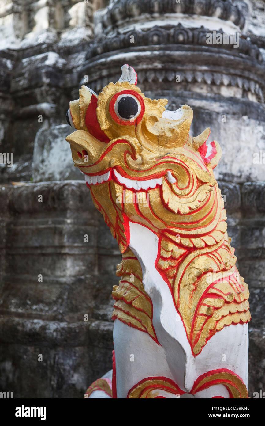 Statue at Wat Buppharam, Chiang Mai, Thailand Stock Photo