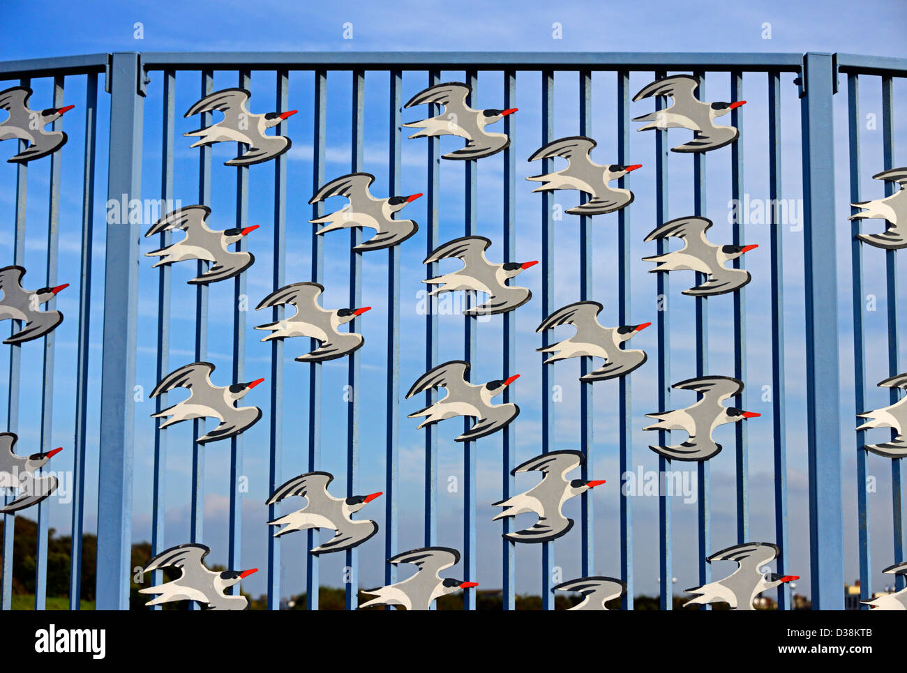 'Bird Fence', (detail). Outdoor sculpture by David Kemp. The Tern Project. Morecambe, Lancashire, England, - Stock Image