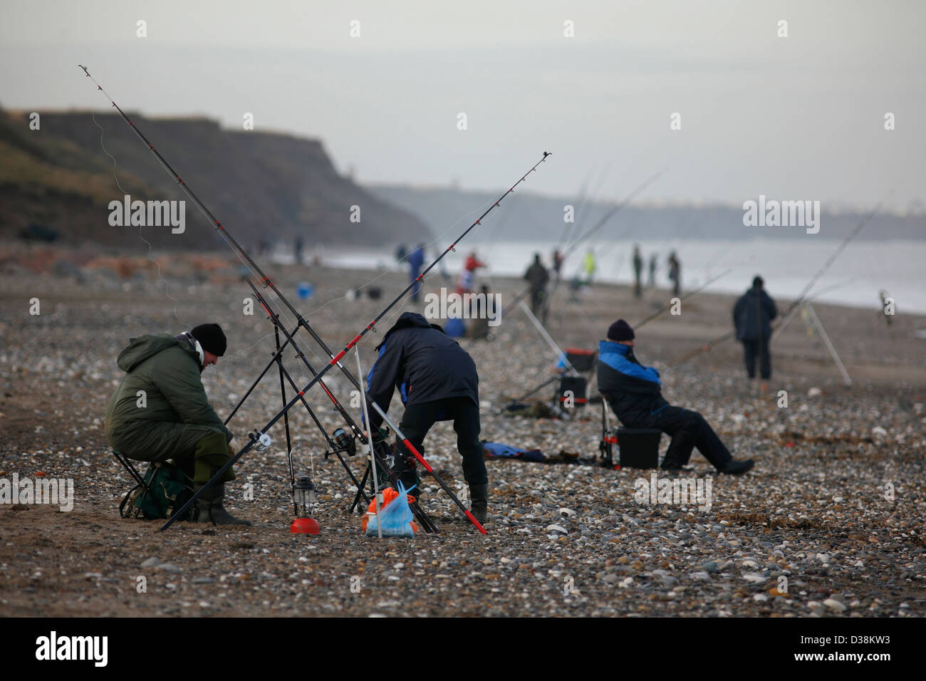 Sea fishing off the beach at Mappleton , East Riding of Yorkshire Stock Photo