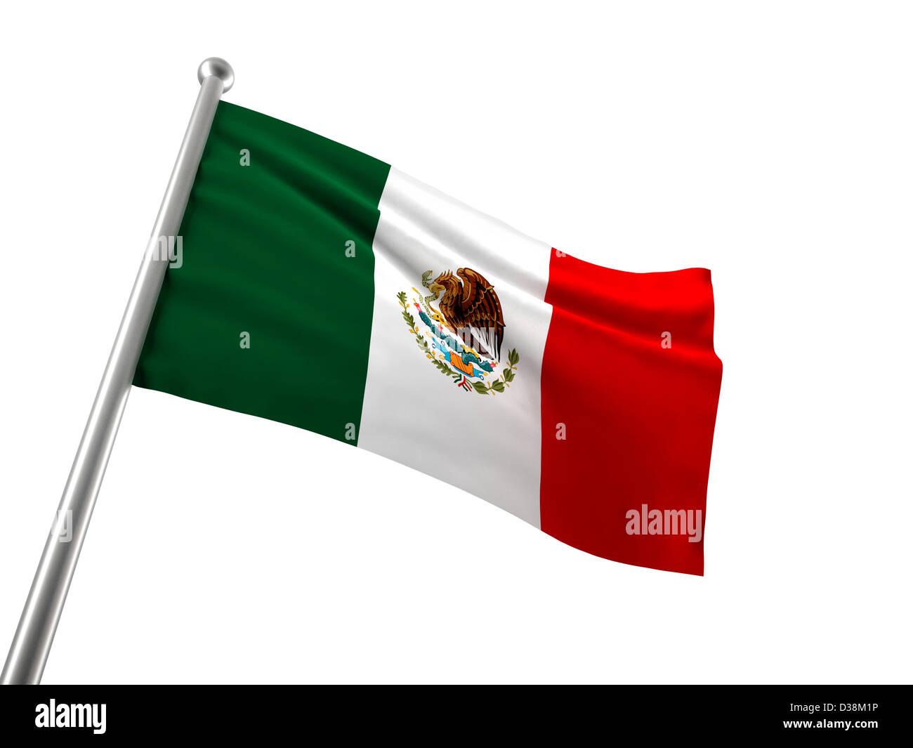 mexico flag isolated on white - Stock Image