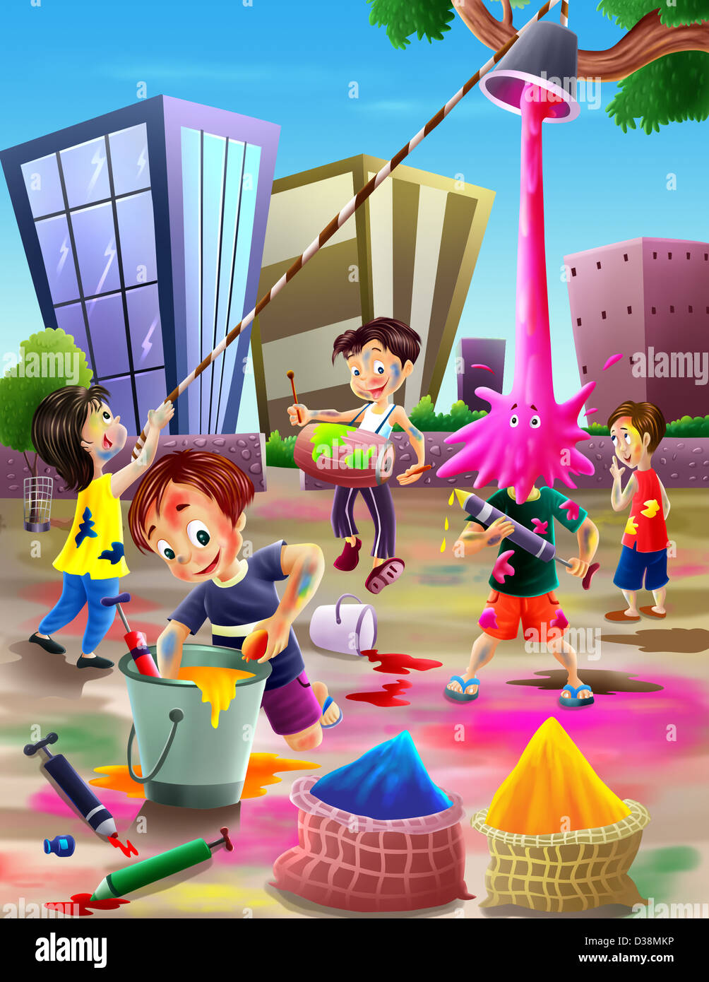 Children Celebrating Holi Festival Stock Photo 53666922
