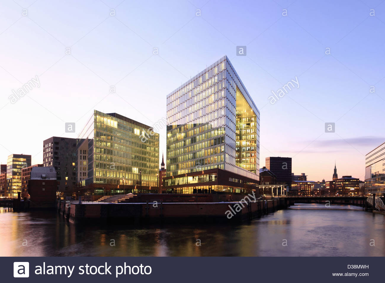 Urban buildings on waterfront - Stock Image