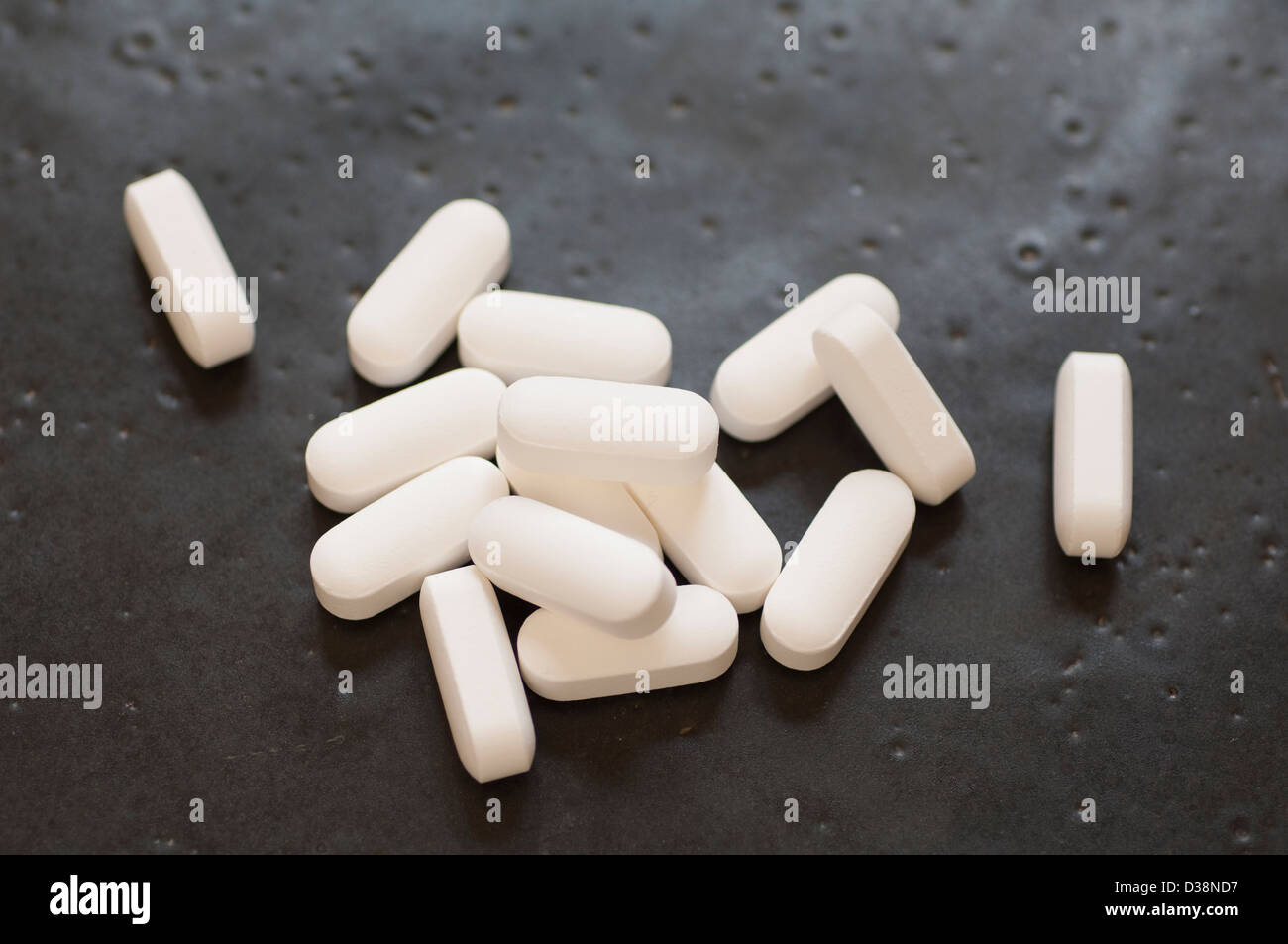 Close-up view of Glutamine tablets dietary supplement - Stock Image