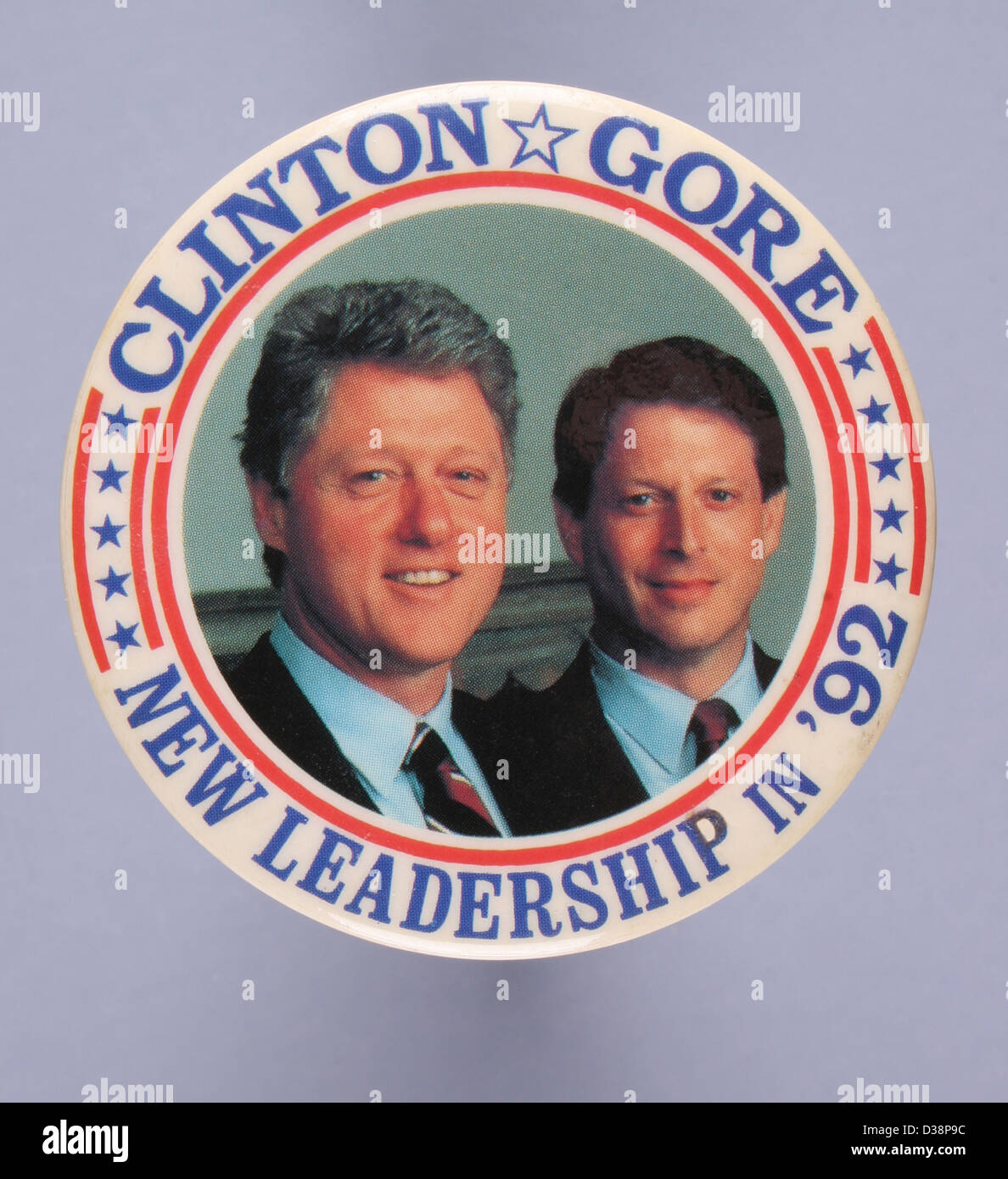 A round 1992 United States presidential campaign button pin for democratic candidates Bill Clinton and Al Gore Stock Photo