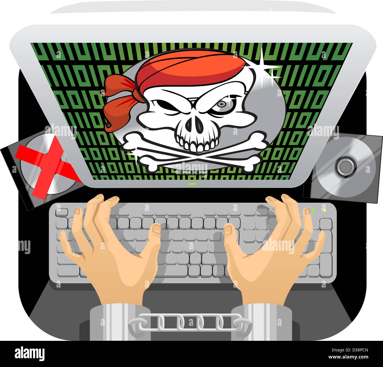 Handcuffed person's hand using a keyboard with anti piracy message flashed on the computer screen - Stock Image