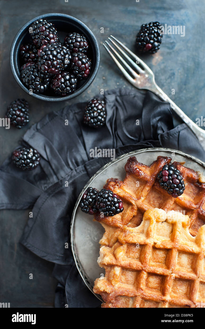 Plate of waffles with berries - Stock Image