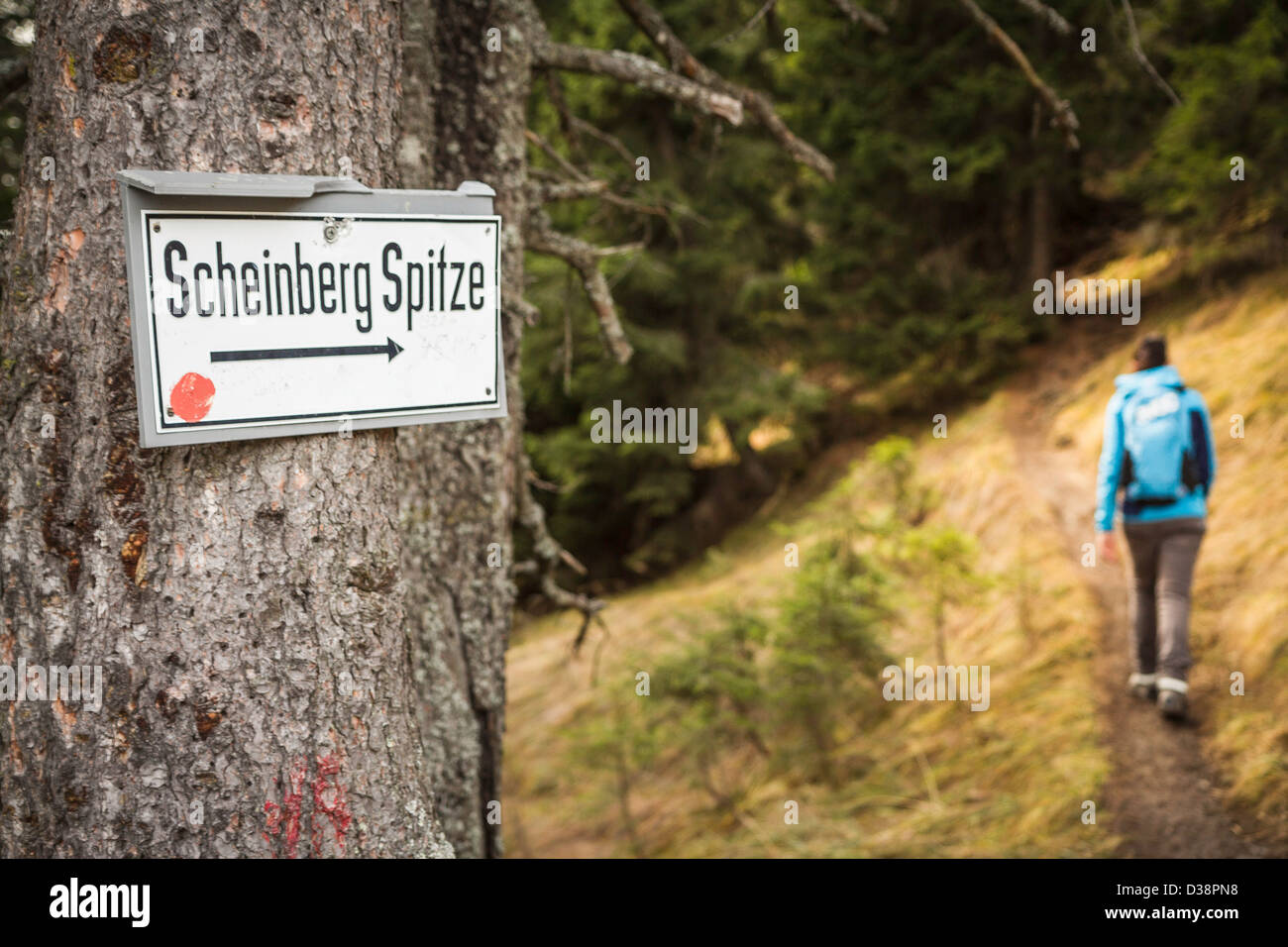 Scheinberg Spitze sign on rural trail Stock Photo
