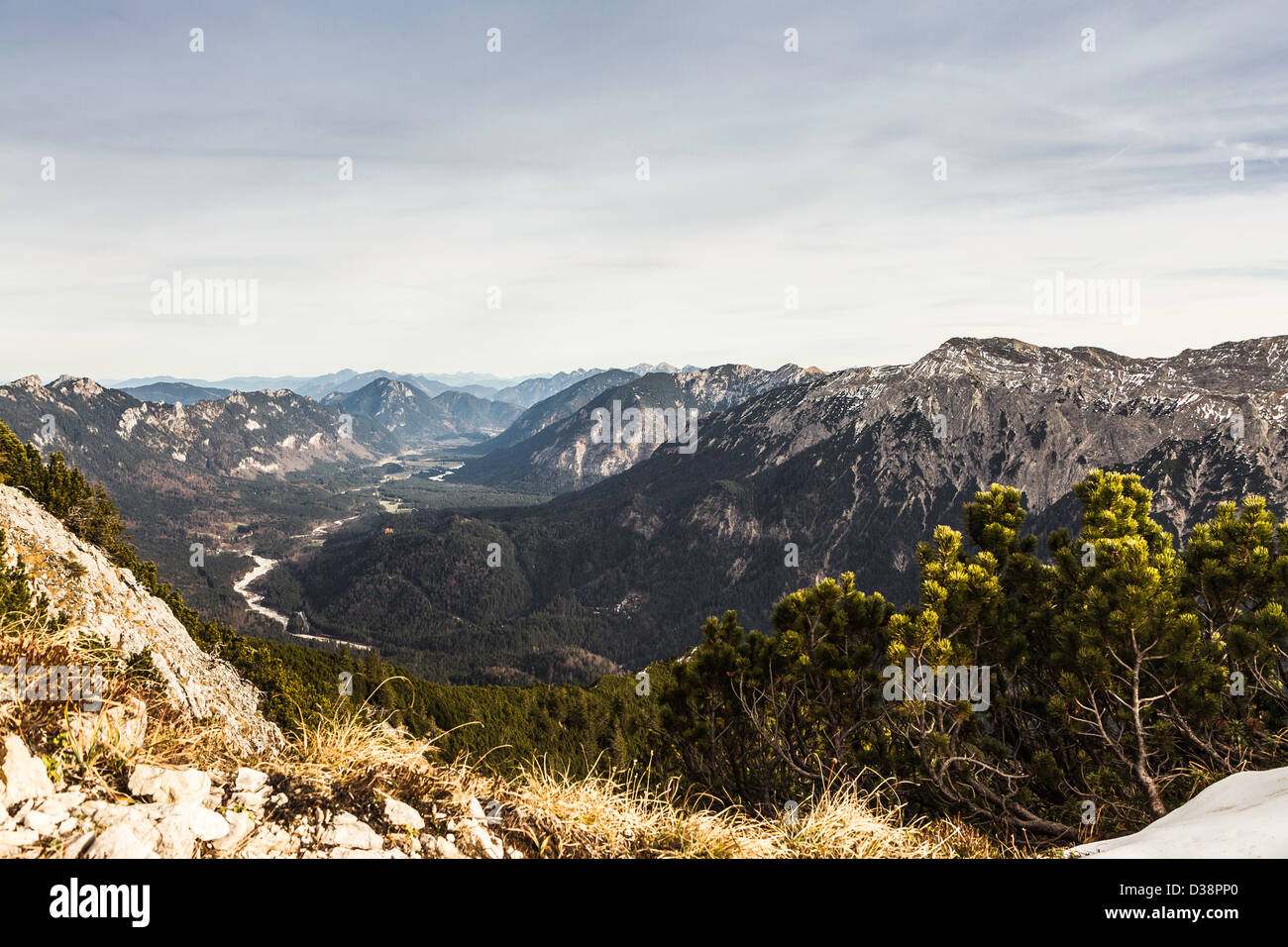 Mountains and trees in rural landscape - Stock Image